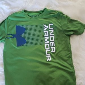 Green and blue under armour tshirt